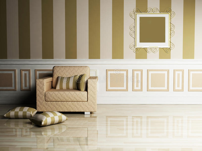 klasycznego projekta wewnętrzny żywy pokój royalty ilustracja