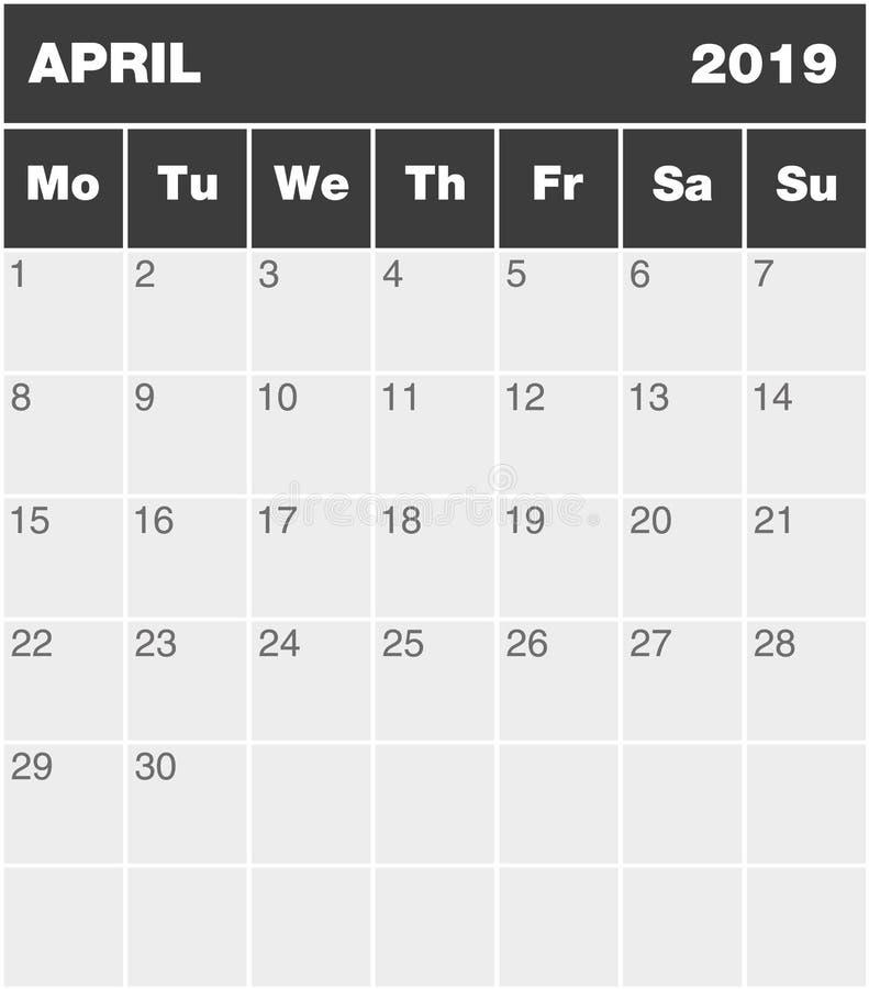 Klasycznego pustego miesiąca planowania greyscale kalendarz - Kwiecień 2019 ilustracji