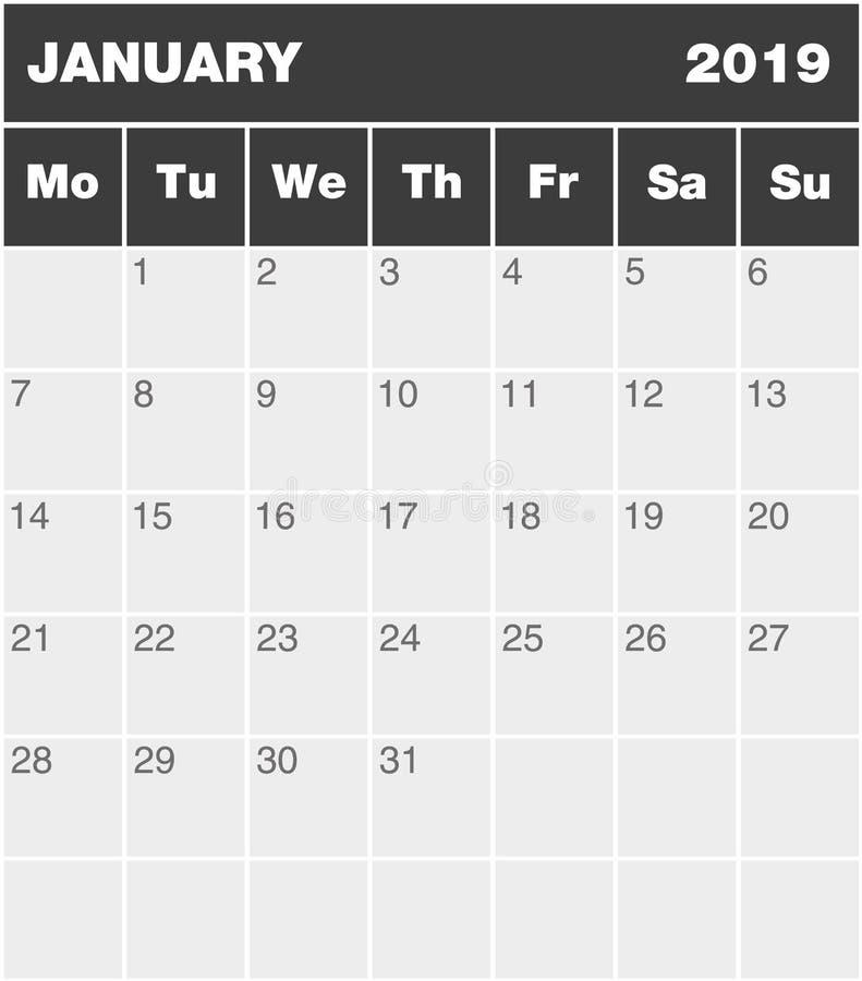 Klasycznego pustego miesiąca planowania greyscale kalendarz - Styczeń 2019 royalty ilustracja