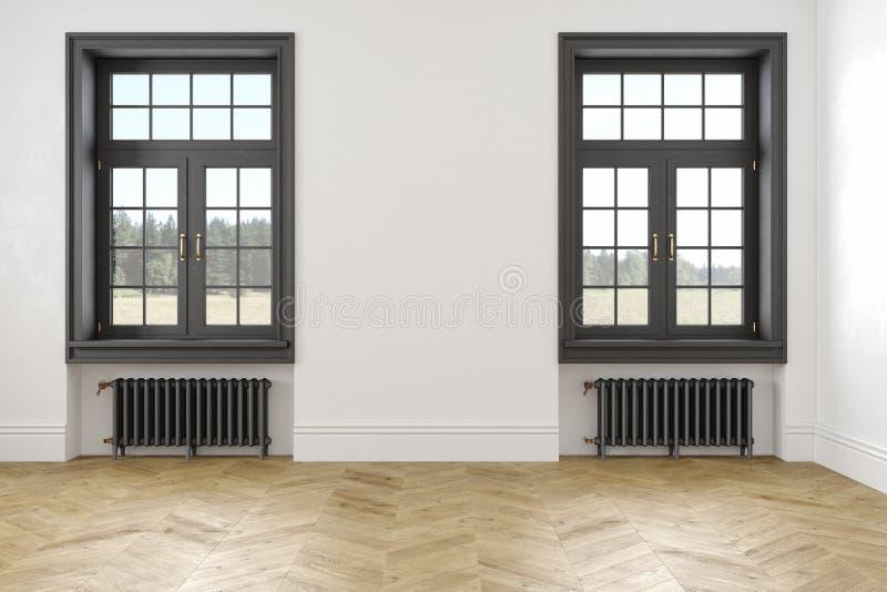 Klasycznego scandinavian bielu pusty wnętrze z okno, parkietowych i grzejnych bateriami, ilustracja wektor