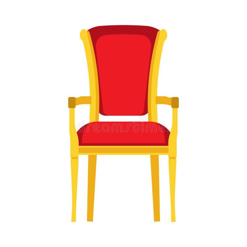 Klasycznej krzesło czerwonej wektorowej ikony frontowy widok Meble domowy wnętrze odizolowywający Retro luksusowy pokój siedzi Kr royalty ilustracja