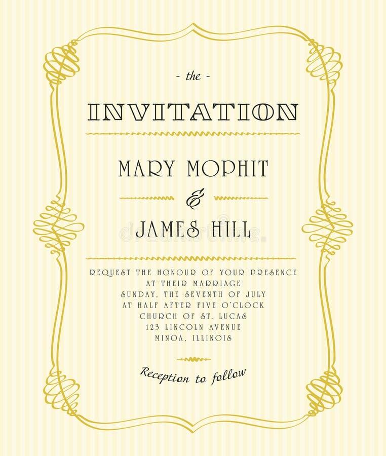 Klasyczni ślubni zaproszenia i zawiadomienia royalty ilustracja