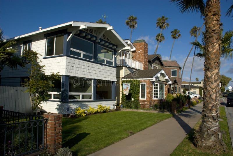 Klasyczni amerykańscy domy w foki plaży - orange county, Kalifornia fotografia stock