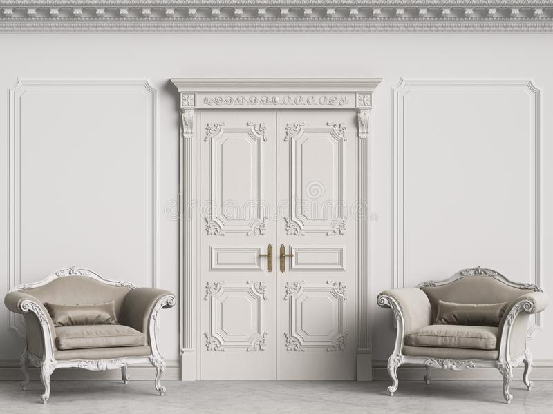 Klasyczni barokowi karła w klasycznym wnętrzu Ściany z formierstwami i dekorującym karniszem obrazy royalty free