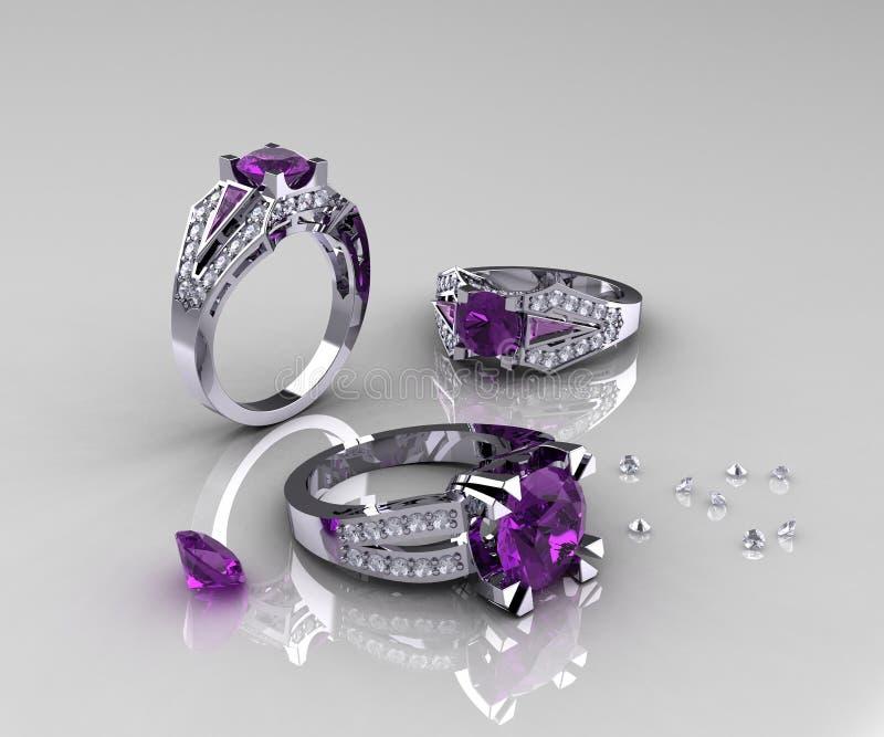 Klasyczni Białego złota Ametystowi Diamentowi pierścionki zaręczynowi ilustracja wektor