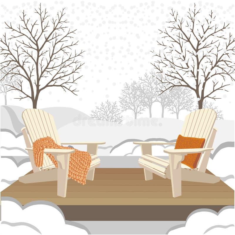 Klasyczni drewniani plenerowi krzesła z klockowatą dzianiny szkocką kratą, poduszką i Wintergarden lub parka krajobraz ilustracja wektor