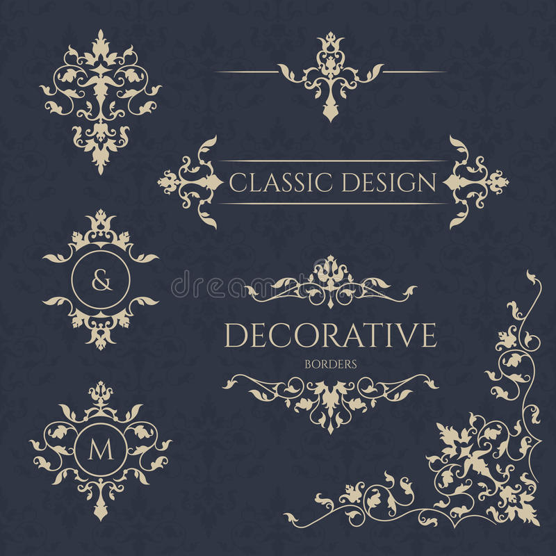 Klasyczni elementy Dekoracyjny wektorowy monogram i granica ilustracji