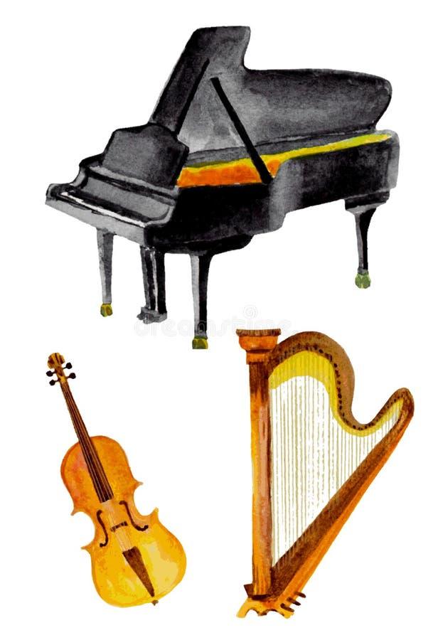 Klasyczni instrumenty w akwareli ilustracji