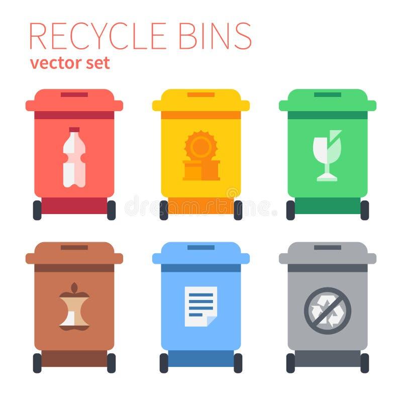 Klasyczni kosz na śmiecie dla oddzielnej kolekci ilustracja wektor