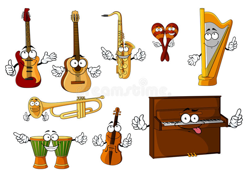 Klasyczni kreskówka instrumentów muzycznych charaktery ilustracja wektor
