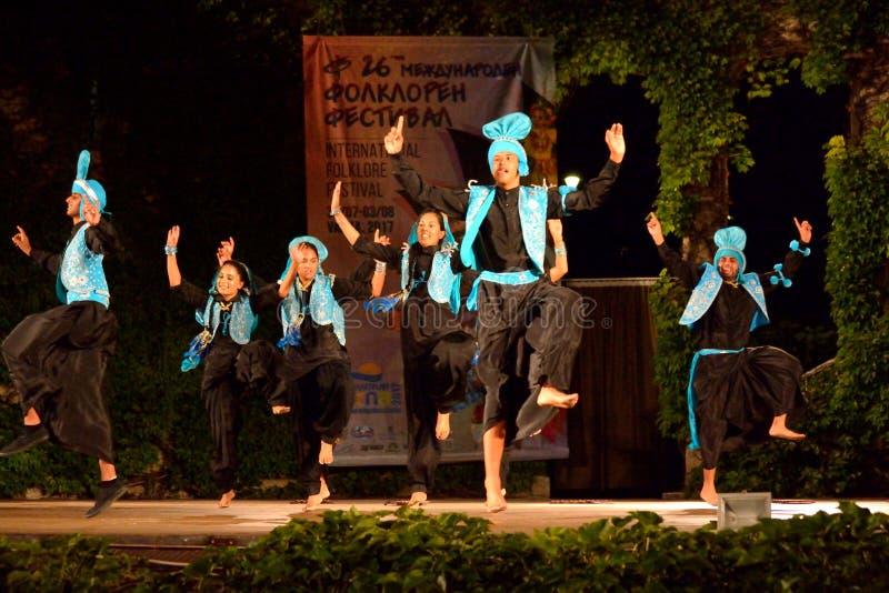 Klasyczni tancerze India sceny występ zdjęcia stock