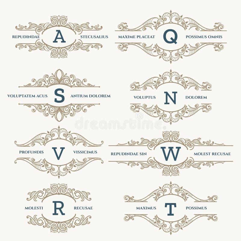 Klasyczny ślubny retro loga set ilustracji