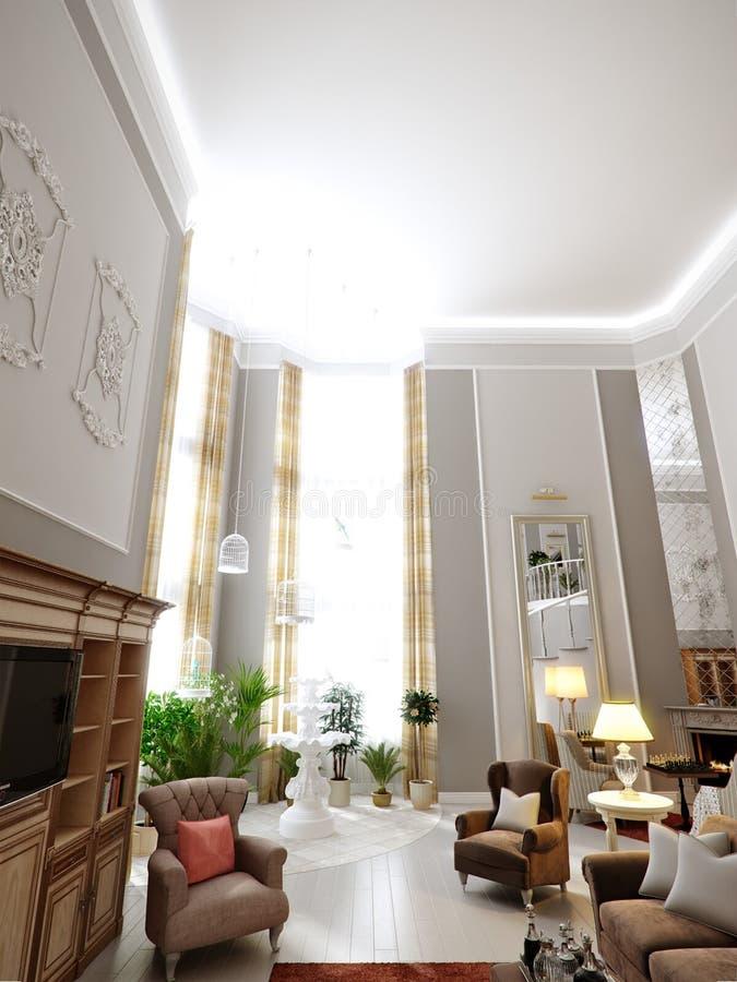 Klasyczny żywy pokoju, kuchni i jadalni wewnętrzny projekt, ilustracji