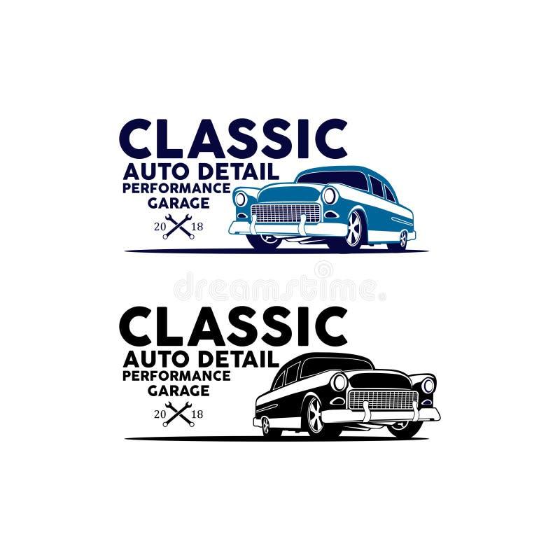 Klasyczny auto szczegółu garaż i naprawa logo samochodowy wektor ilustracja wektor