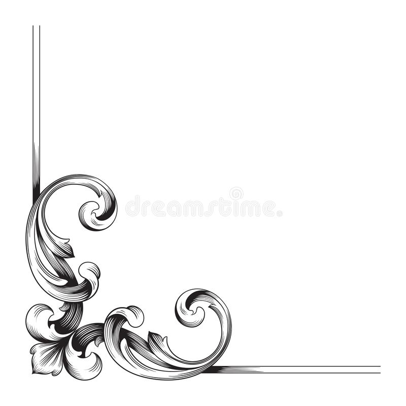 Klasyczny barokowy ornamentu wektor ilustracji