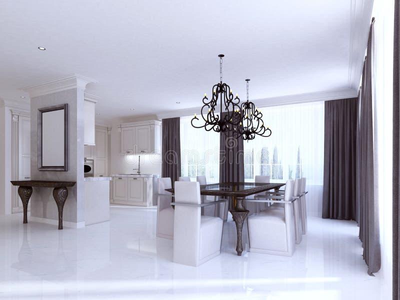 Klasyczny biały łomota pokój w stylu art deco ilustracji