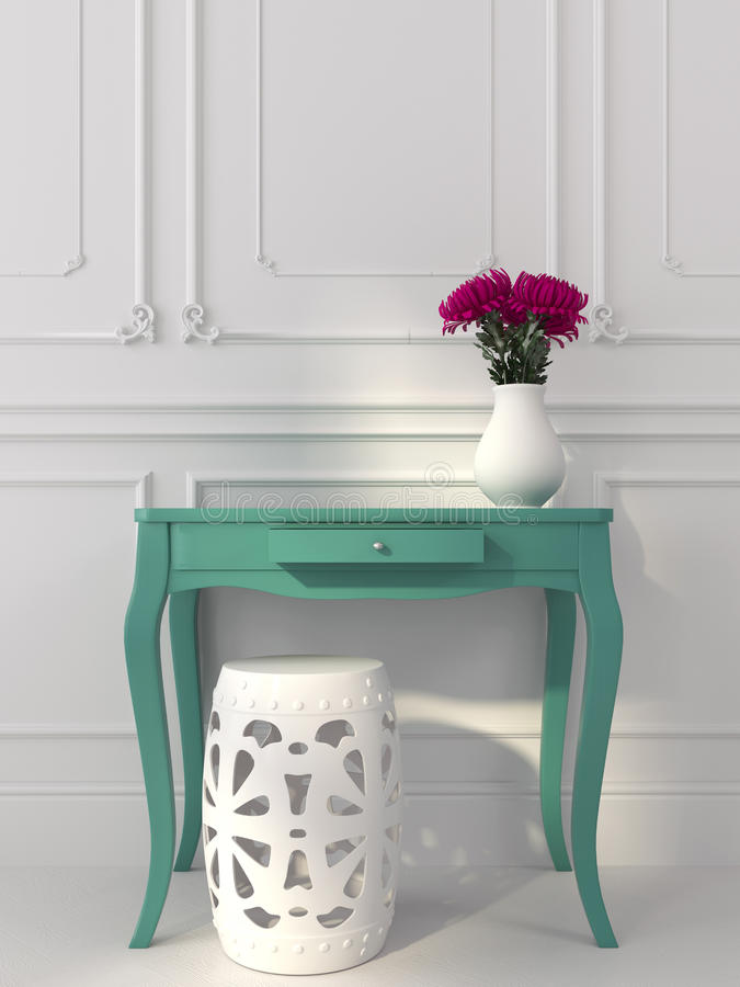 Klasyczny biały wnętrze z błękitną konsolą zdjęcie stock
