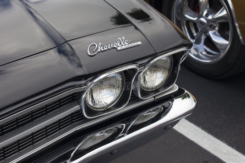 Klasyczny Chevy Chevelle Chrome kapiszon i ?wiat?a fotografia stock