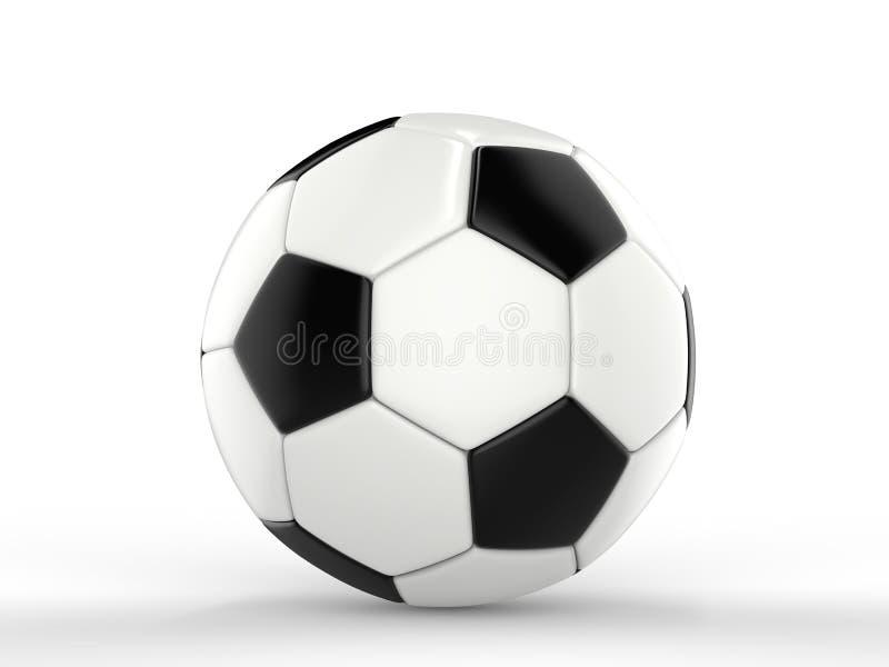 Klasyczny czarny i biały futbol zbliżenie strzał - boczny widok - royalty ilustracja