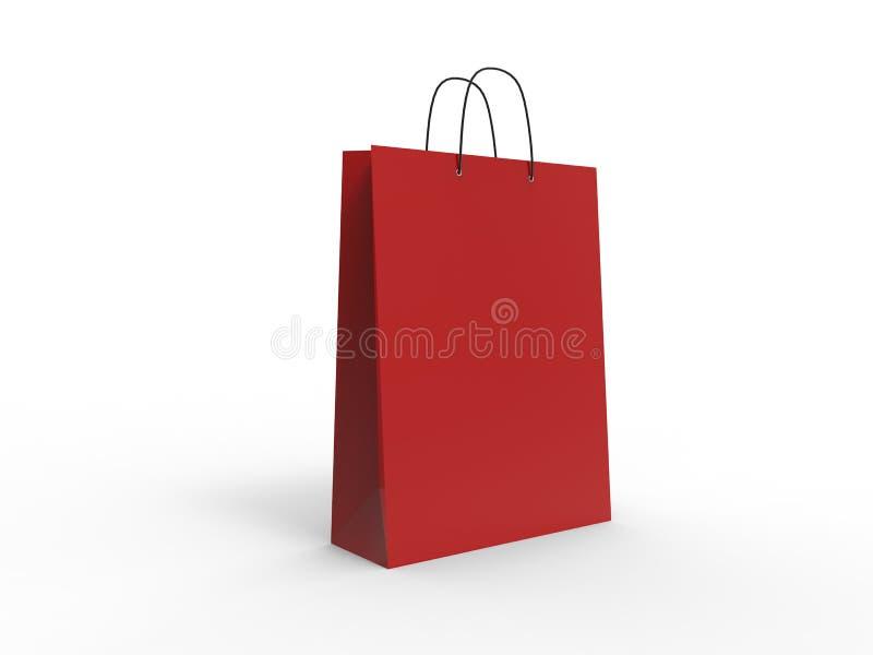 Klasyczny czerwony torba na zakupy, odizolowywający ilustracja 3 d ilustracja wektor