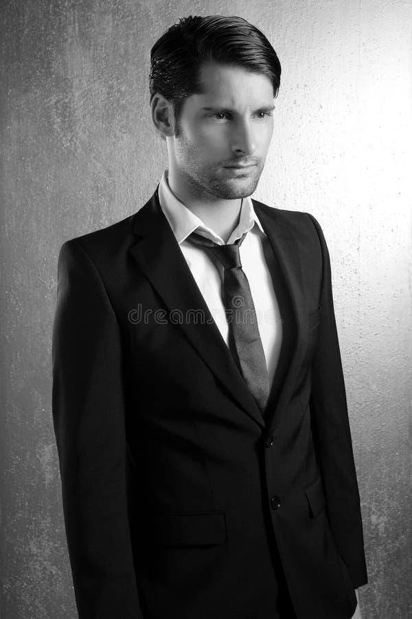 klasyczny elegancki przystojny mężczyzna portreta kostium obraz stock