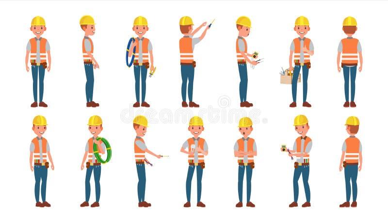 Klasyczny elektryka wektor Różne pozy Pracujący mężczyzna Odosobniona Płaska postać z kreskówki ilustracja royalty ilustracja