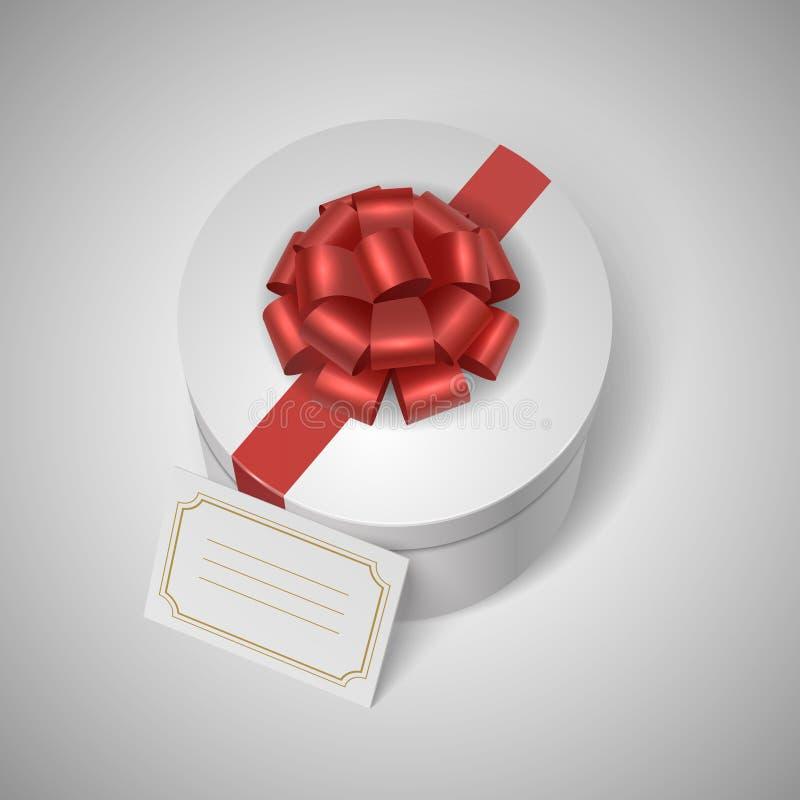 Klasyczny giftbox z czerwonym faborkiem, łękiem i pustym miejscem, ilustracja wektor