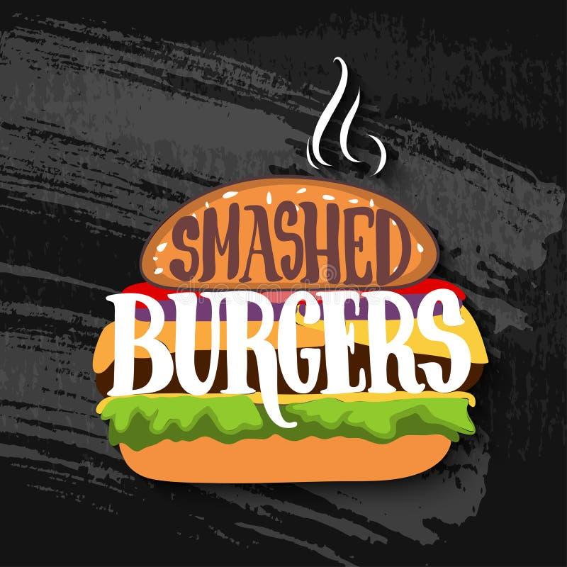 Klasyczny hamburger z literowaniem na kredowej desce wektor royalty ilustracja