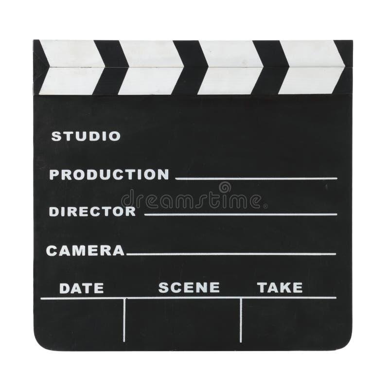 Klasyczny Hollywood kredy clapperboard odizolowywający na białym tle z ścinek ścieżką zdjęcia royalty free