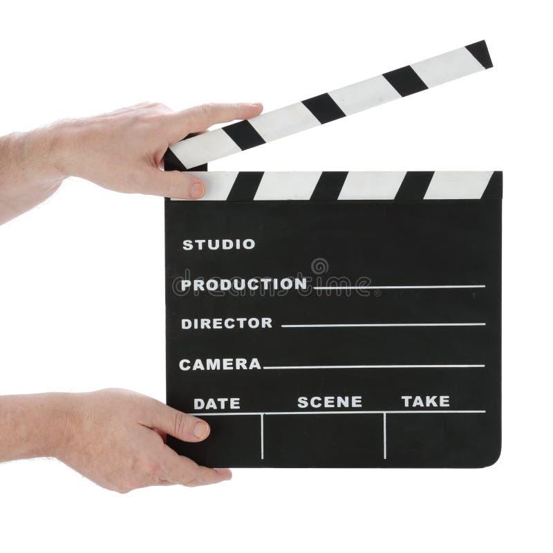 Klasyczny Hollywood kredy clapperboard otwarty na białym tle obraz stock
