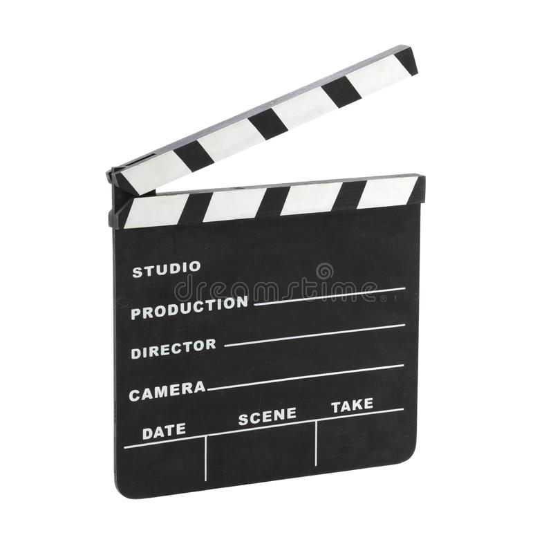 Klasyczny Hollywood kredy clapperboard wędkował odosobnionego na białym tle z ścinek ścieżką fotografia royalty free