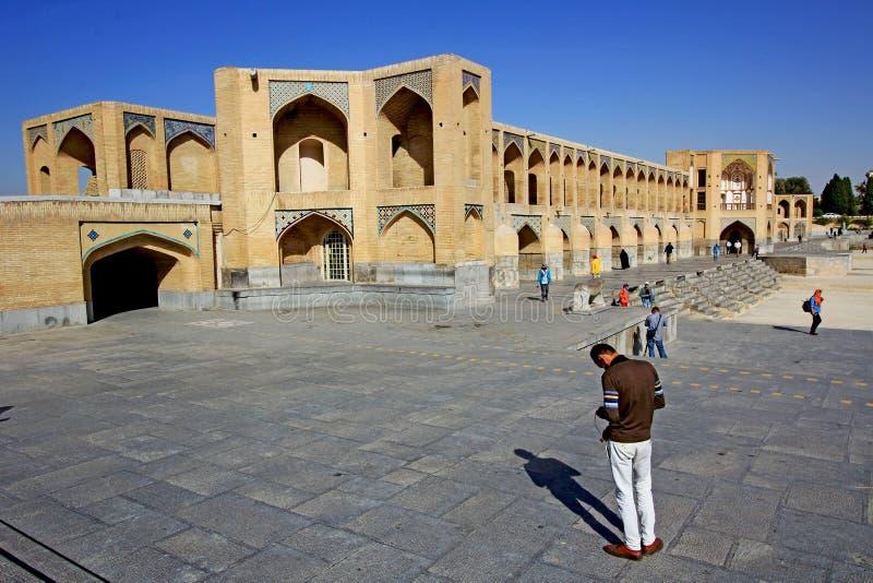 Klasyczny Khaju most w Isfahan zdjęcia stock