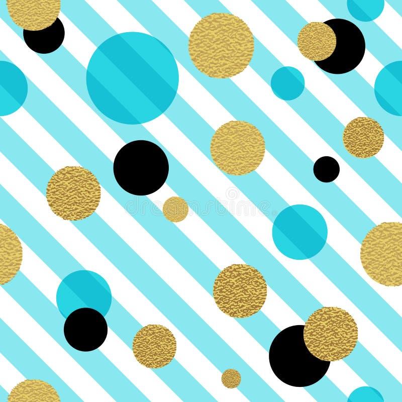 Klasyczny kropkowany bezszwowy złocisty błyskotliwość wzór ilustracji