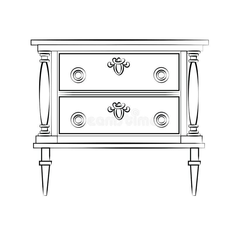 Klasyczny meble z królewskimi luksusowymi ornamentami ilustracja wektor