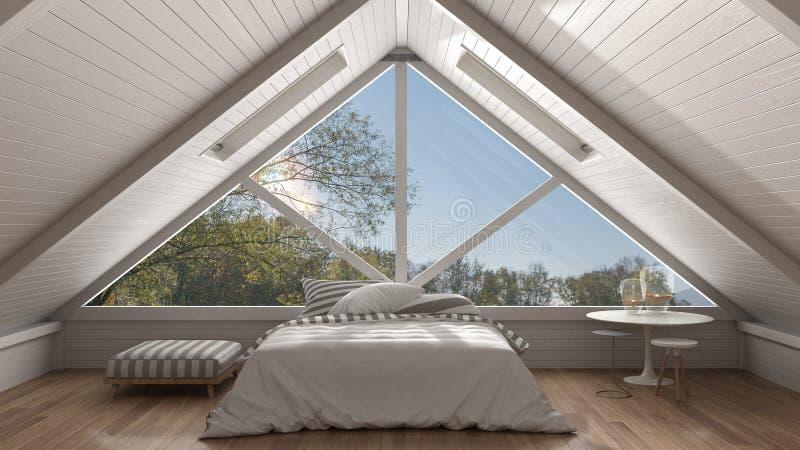 Klasyczny mezoninu loft z dużym panoramicznym okno, sypialnia, summe zdjęcia stock