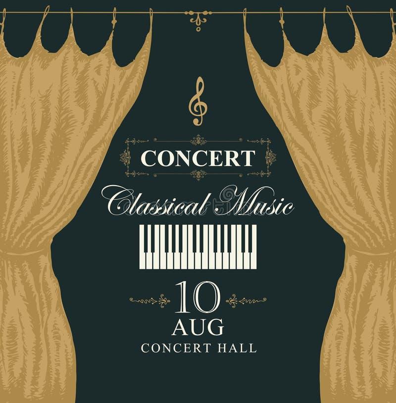 Klasyczny muzyczny plakat z pianino zasłonami i kluczami ilustracja wektor