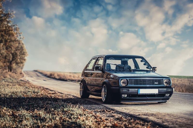 Klasyczny niemiecki samochód, Volkswagen Golf zdjęcie stock