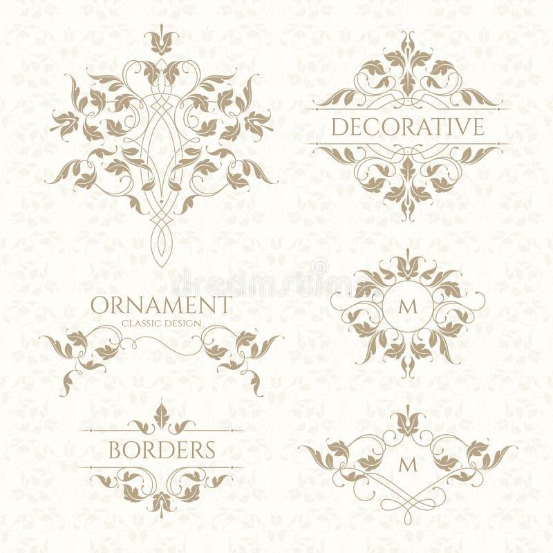 Klasyczny ornament Set dekoracyjne granicy i monogramy royalty ilustracja