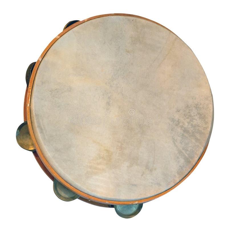 Klasyczny perkusyjny instrument muzyczny tambourine wyizolowany na białym tle z przodu obrazy royalty free