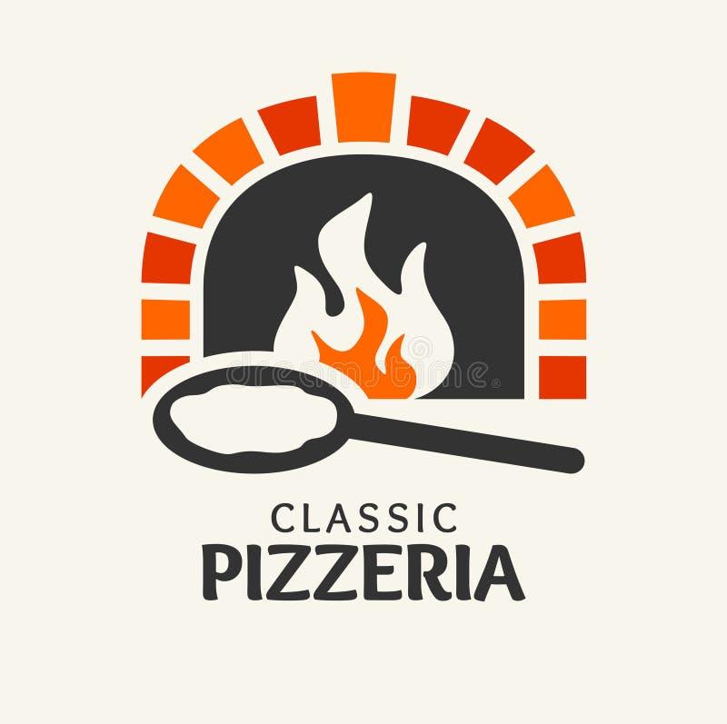 Klasyczny pizzeria logotyp ilustracji