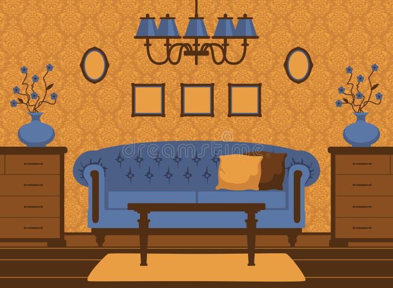 Klasyczny pokój dzienny wnętrze ilustracji