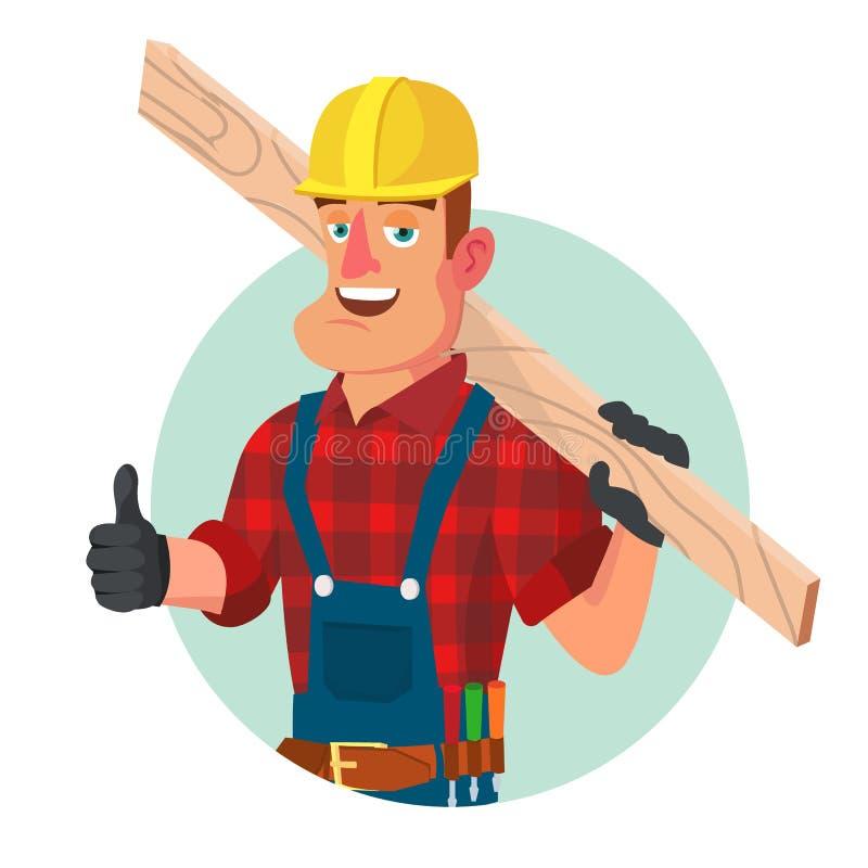 Klasyczny pracownika Lub cieśli wektor Inżynieria Wodno-lądowa pracownik budowlany Odizolowywający Na Białym postać z kreskówki royalty ilustracja