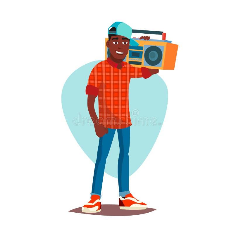 Klasyczny rapera mężczyzna wektor nowożytny muzyk Płaska kreskówki ilustracja ilustracji