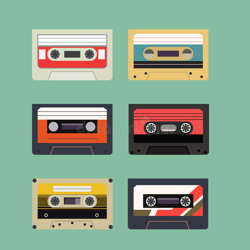 Klasyczny Retro taśmy dźwiękowa kasety set Rocznik Odizolowywająca mieszkanie stylu ikona royalty ilustracja