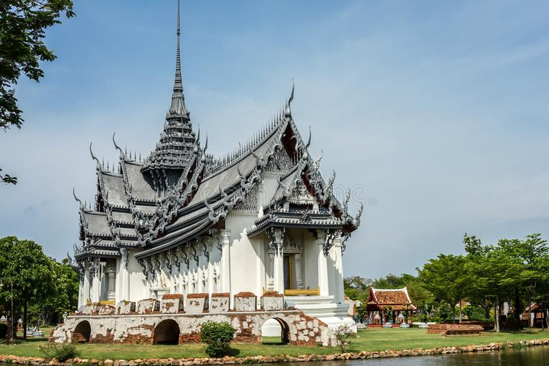 Klasyczny rocznik Wat Phra Sri Sanphet w wyobraźni przy Muang Boran, Tajlandia zdjęcie royalty free