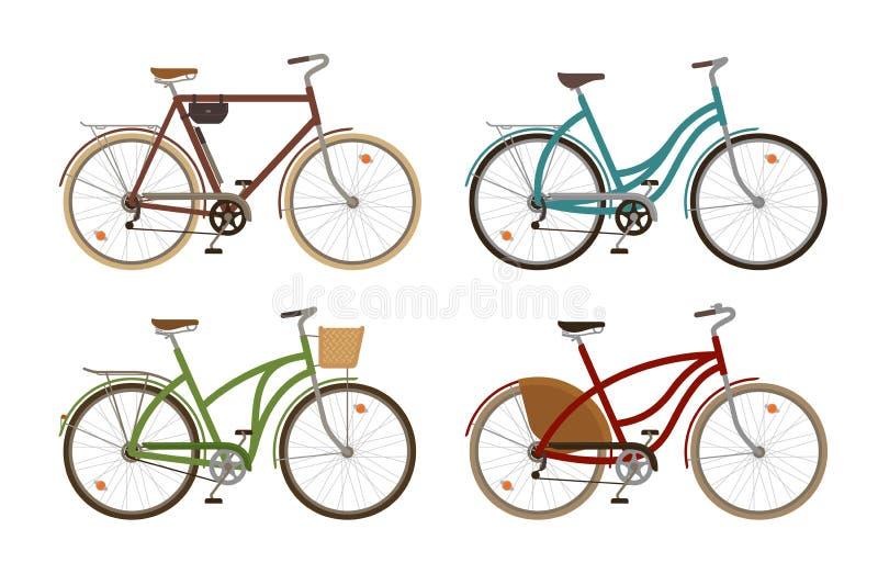 Klasyczny rower, ustawia ikony Retro bicykl, cykl, transport obcy kreskówki kota ucieczek ilustraci dachu wektor royalty ilustracja