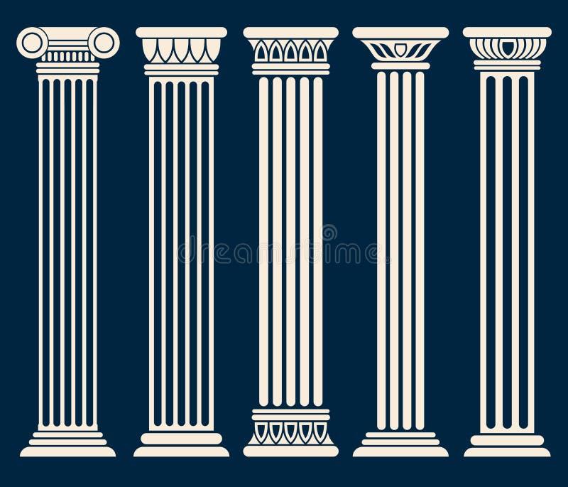 Klasyczny rzymskiej, greckiej architektury kolumn wektoru set, ilustracji