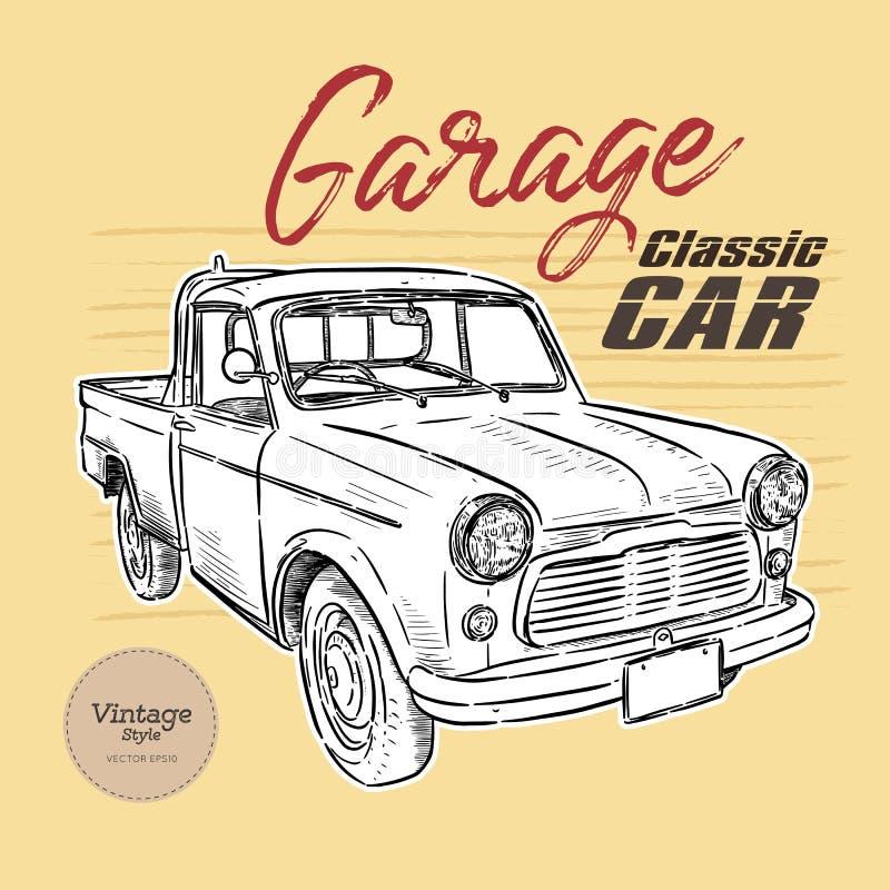 Klasyczny samochód, rocznika styl remisu r?ki papieru watercolours royalty ilustracja