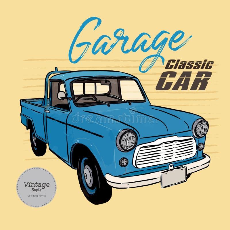 Klasyczny samochód, rocznika styl remisu r?ki papieru watercolours ilustracja wektor