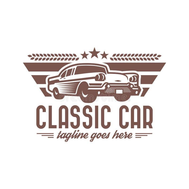 Klasyczny Samochodowy loga szablon, rocznika samochodowy logo, retro samochodowy logo ilustracja wektor